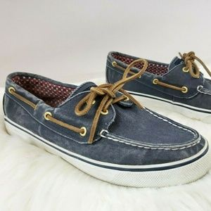 Sperry Topsider Blue Canvas Boat Shoes 7